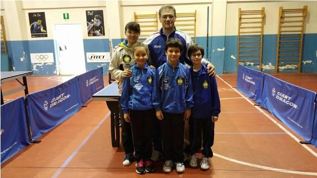 I nostri atleti Giulia Palmisano, Davide Casà e Pietro Violante con me e il tecnico Zhang Ludan