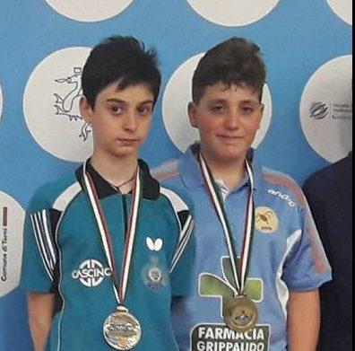 Pietro Violante e Daniele Spagnolo (APD Eos Enna) Medaglia di Bronzo Doppio Maschile Categoria Ragazzi.